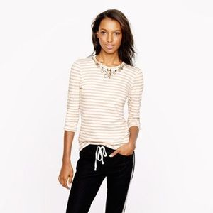 Blush pink, striped top Crew with jeweled neckline